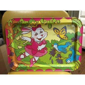 Vintage Metal Folding TV  Tray Lap Tray Bunny Ball